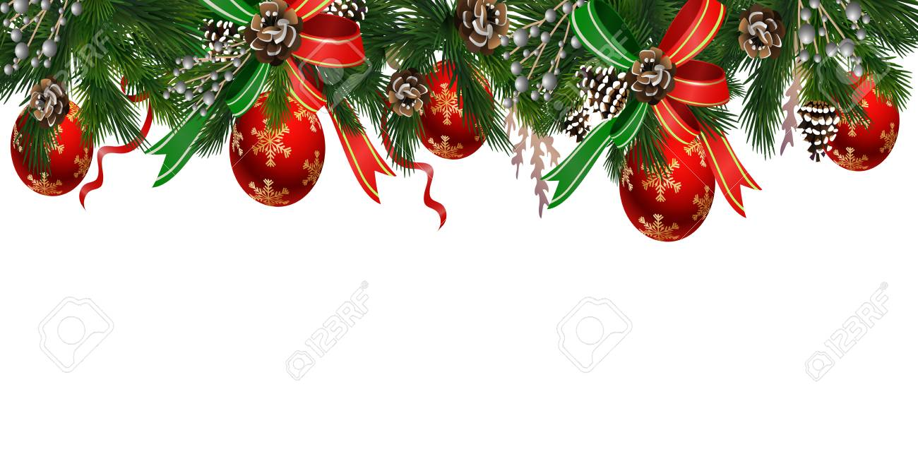 Horizontal banner with christmas tree garland and ornaments.