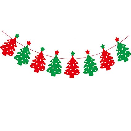 Amazon.com: OULII Christmas Tree Banner Sign Garland Hanging.