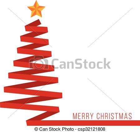 Red ribbon Christmas tree banner.