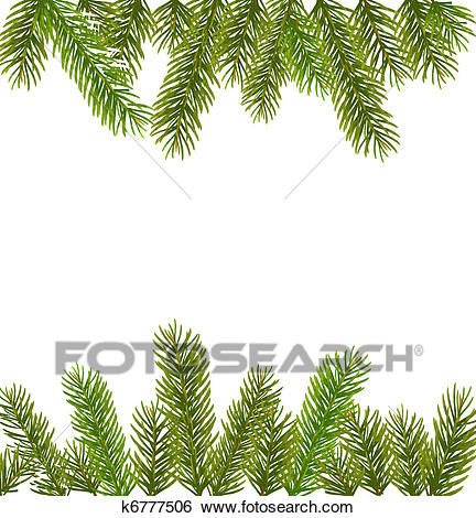 Christmas tree branches border Clip Art.