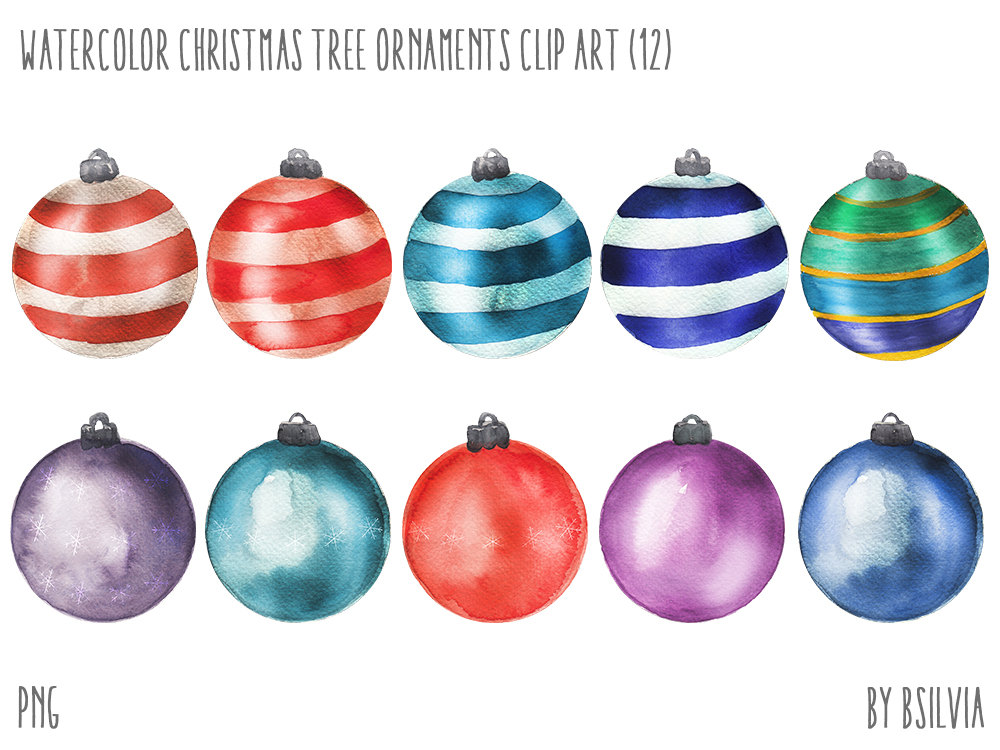 Watercolor Christmas Tree Ornaments Watercolor Christmas Tree.