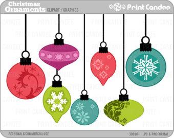 Christmas Digital Clip Art, Christmas Ornament, Watercolor.