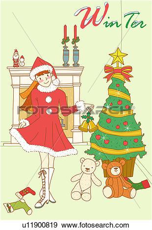Stock Illustration of stuffed bear, fireplace, teddy bear.