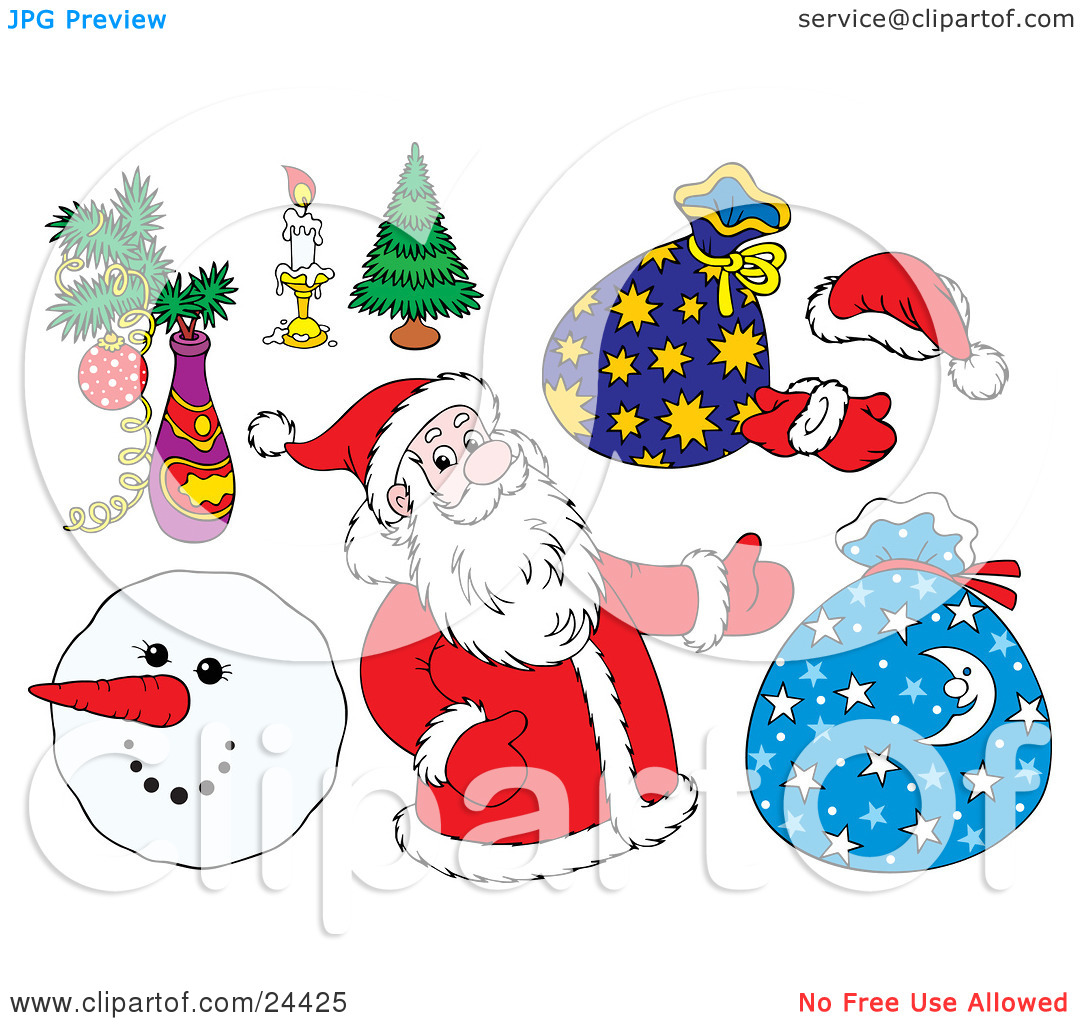 Clipart Illustration of a Christmas Collection Of Santa, Toy Sacks.
