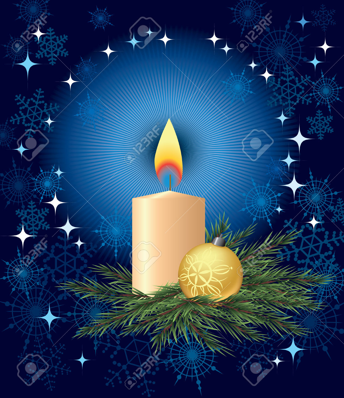 Candle And Christmas Tree Ball On A Pine Branch Royalty Free.