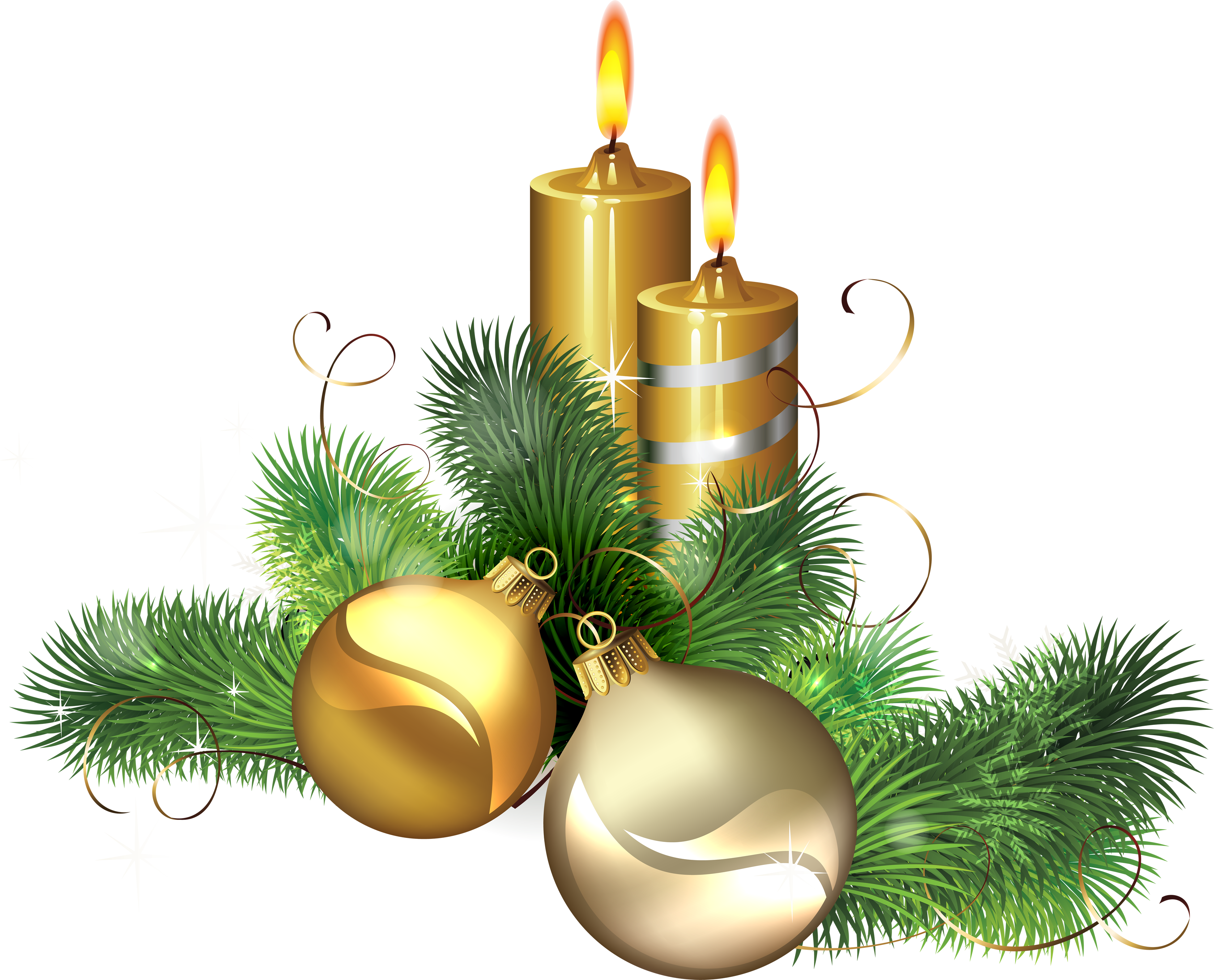 Christmas Candle With Banner Clipart.