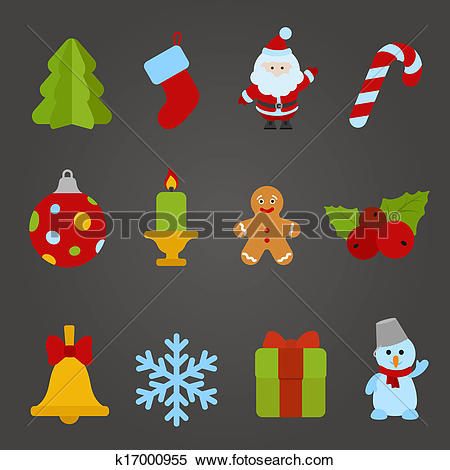 Clipart of Christmas vector flat design icon set. Happy new year.