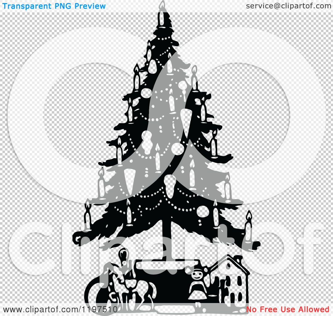 Clipart of a Vintage Black and White Christmas Tree with Candles.