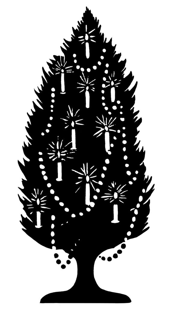 old fashioned Christmas tree, tree decorated with candles, black.