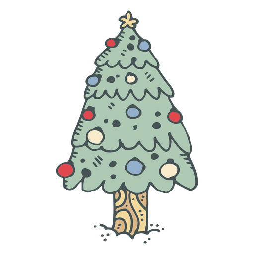 Christmas tree hand drawn cartoon icon 5.