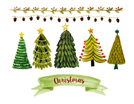 Christmas clipart, watercolor christmas clipart, christmas planner  stickers, christmas scrapbook clipart, vintage christmas clipart,.