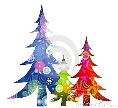 Retro Christmas Trees Clip Art.