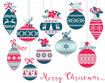 Vintage Christmas Ornaments Clipart. Christmas Clipart. Christmas.