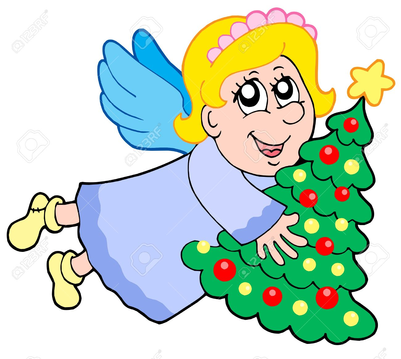 Cute Angel Holding Christmas Tree.