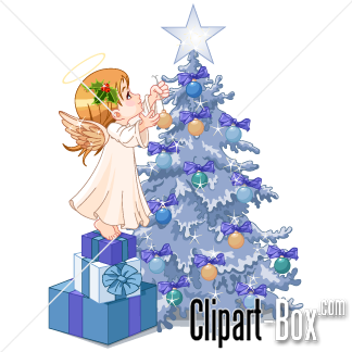 CLIPART CHRISTMAS TREE AND ANGEL.