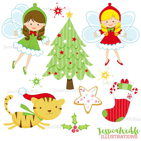 Christmas Angels Cute Digital Clipart, Christmas Clip art.