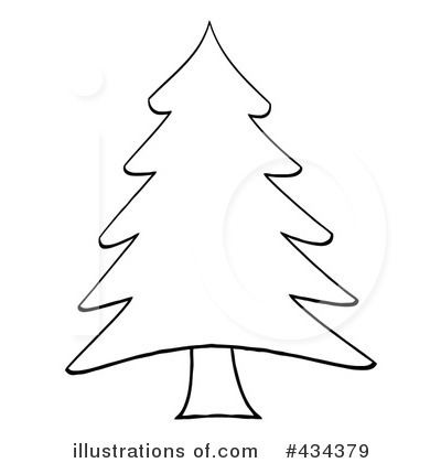 Black And White Evergreen Tree Clipart.