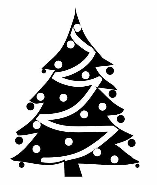 Best Christmas Tree Clipart Black And White #14632.