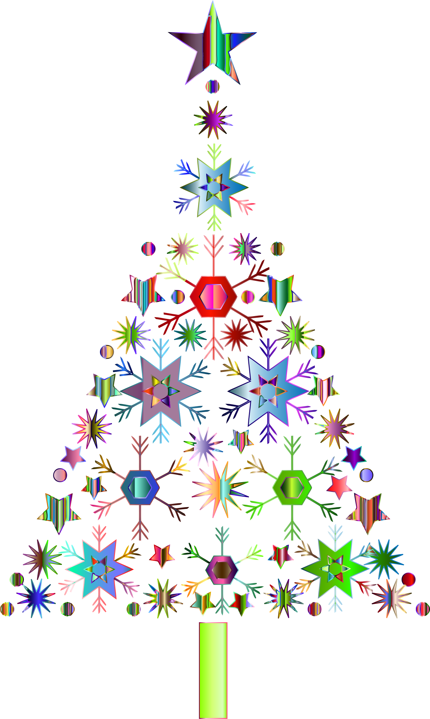 Abstract Snowflake Christmas Tree By Karen Arnold Prismatic 2 No.