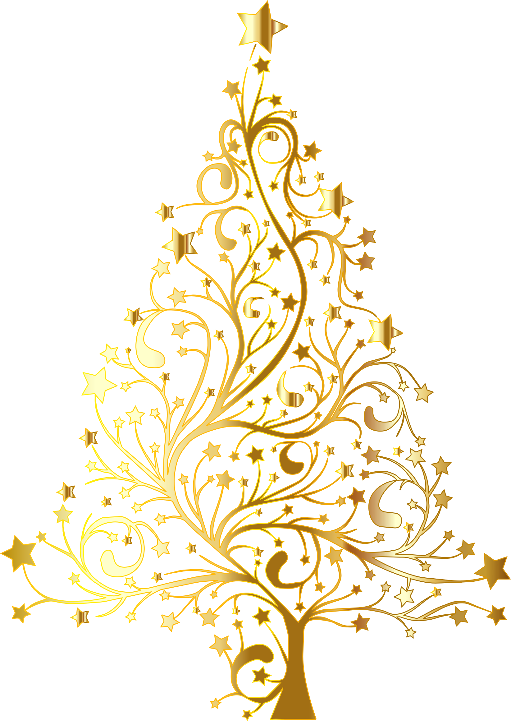 Starry Christmas Tree Gold No Background.