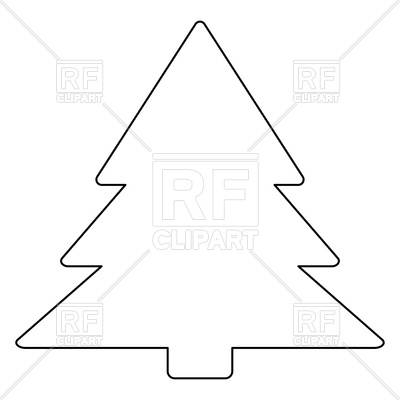 Christmas tree outline on white background.