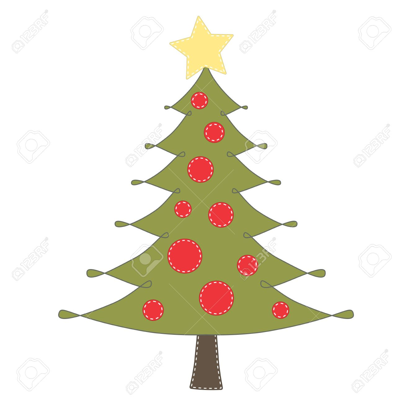 Christmas tree clip art on transparent background for scrapbooking...