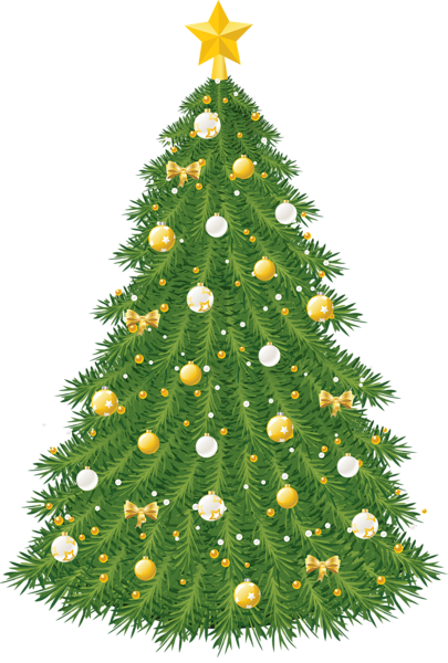 Large Transparent Christmas Tree with Gold and White Ornaments.