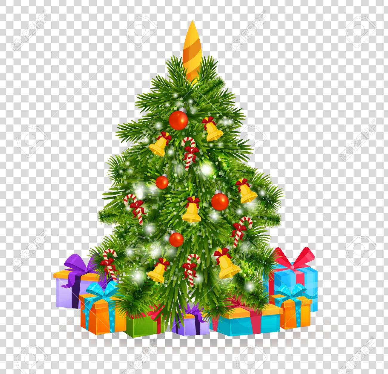 Merry Christmas. Beautiful realistic Christmas tree on transparent...