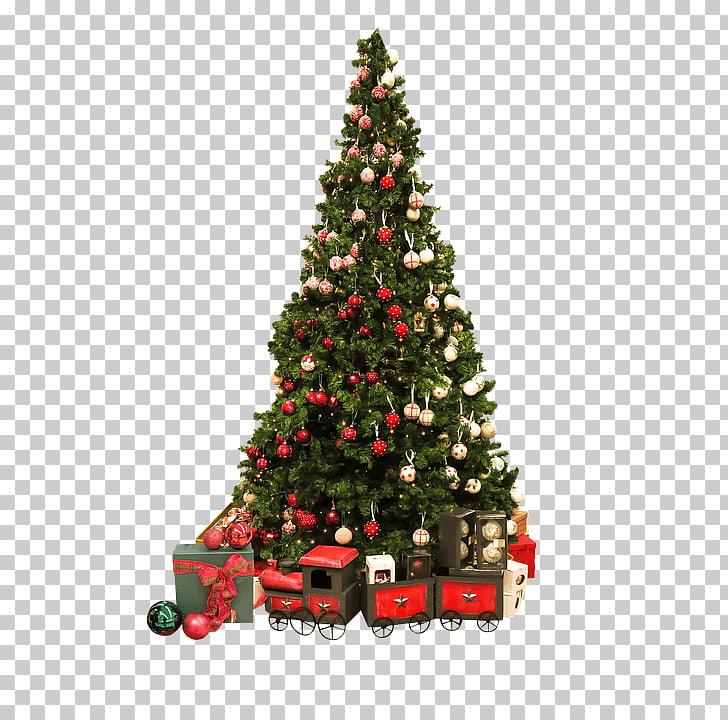 Christmas Tree Vintage Train, green Christmas tree PNG.