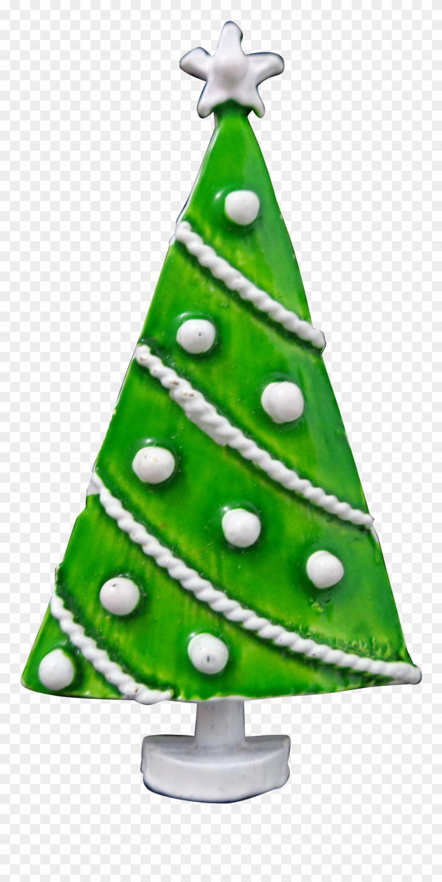 Vintage Green White Polka Dot Christmas Tree Pin Clipart.