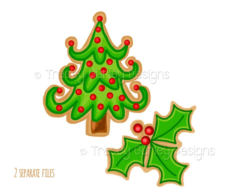Christmas cookie clipart, Christmas tree clip art, holly clip art,  Christmas Clip Art, Christmas Clipart, holiday clipart, digital download.