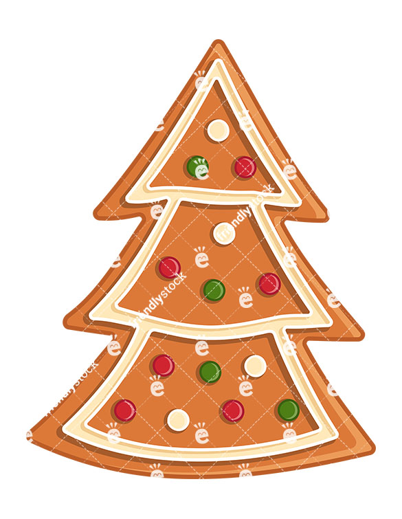 Gingerbread Christmas Tree Cookie Isolated.