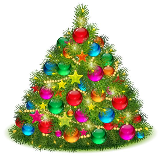 Large Transparent Decorated Christmas Tree PNG Clipart.