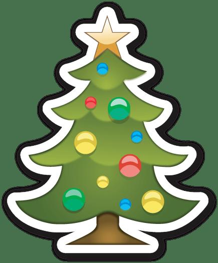 Christmas Tree Emoji Sticker transparent PNG.