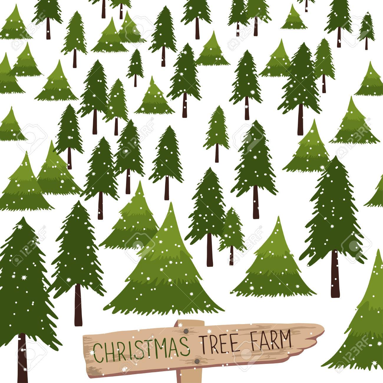 Christmas tree farm. Vector illustration. Christmas Trees for...