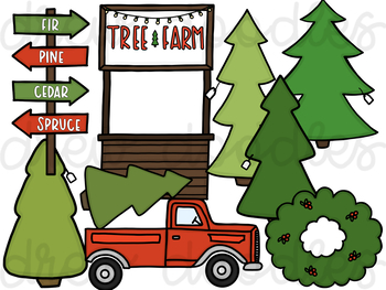 Christmas Tree Farm Digital Clip Art Set.