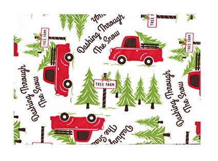Vinyl Tablecloth, Red Truck Christmas Tree Farm Design, Eco Friendly PEVA,  Flannel Backed (60 Round).