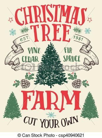 Christmas tree farm vintage sign.