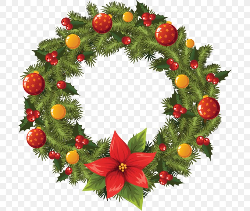 Wreath Christmas Garland Clip Art, PNG, 700x692px, Wreath.