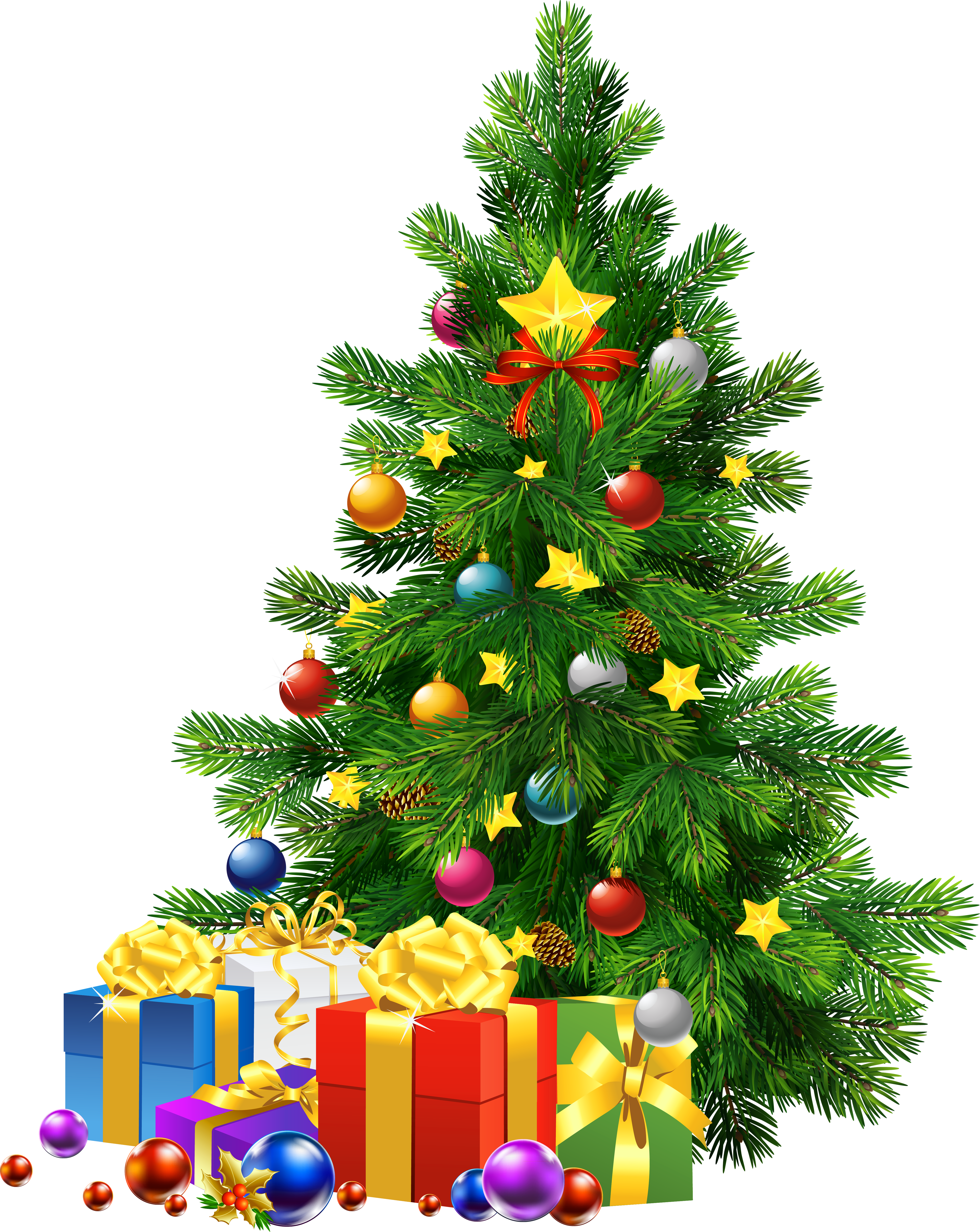 Large Transparent PNG Christmas Tree with Gifts.
