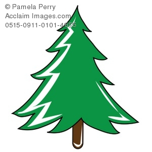 Clip Art Illustration of a Christmas Tree.