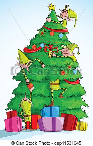 EPS Vector of Elf decorating Christmas Tree.