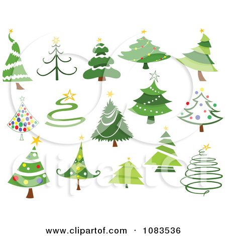 Clipart Variety Of Christmas Tree Designs.