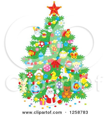 Clipart of a Christmas Tree with Cute Ornaments.