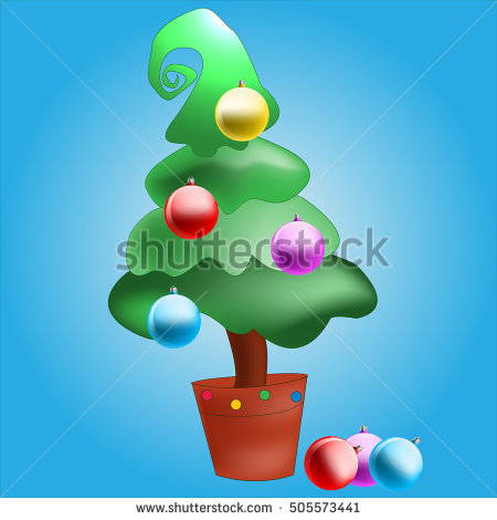 Christmas Tree In Stand Pot Clipart Vector Png.