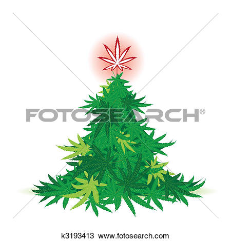 Clipart of Christmas tree, cannabis leaf k3193413.