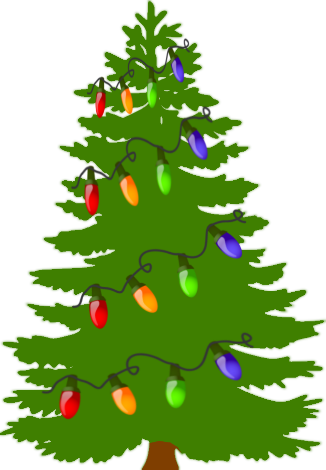 Christmas tree with lights clipart.