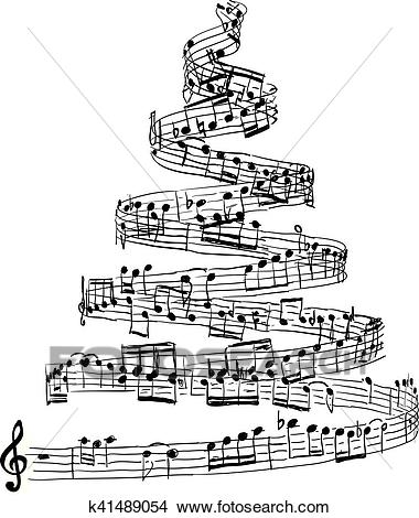 Christmas tree from music notes Clipart.