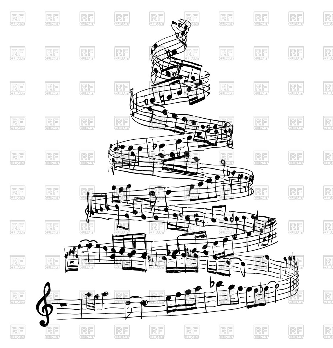 Christmas tree from music notes Stock Vector Image.
