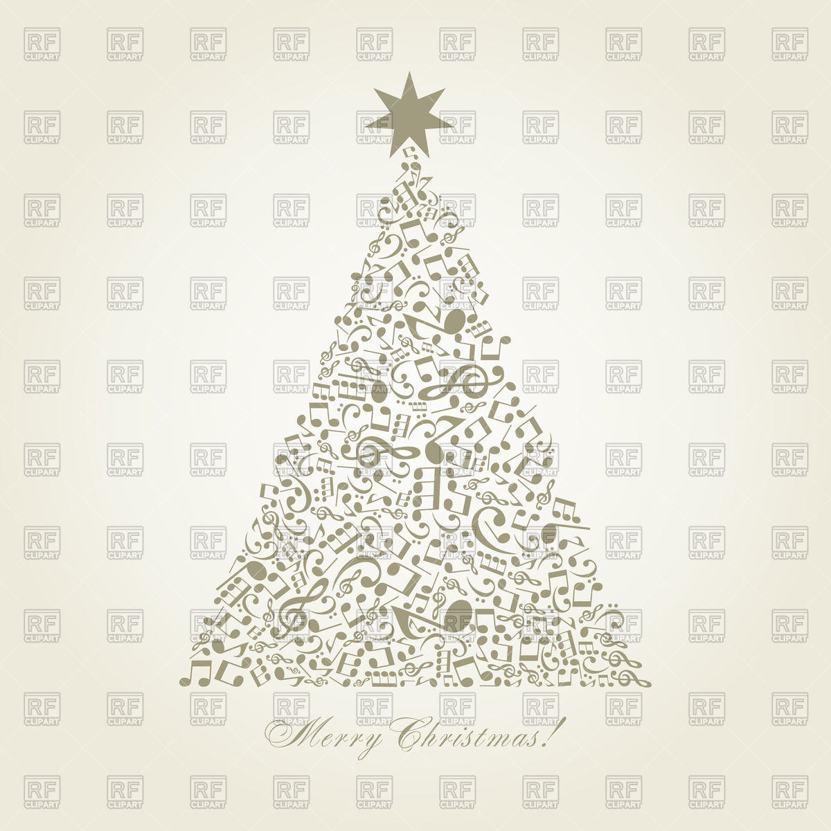 Christmas tree made of musical notes Stock Vector Image.